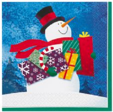 16 Snowman Gifts Paper Party Napkins
